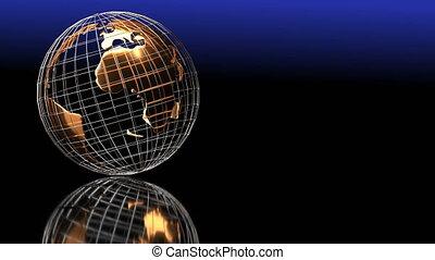 tourne, boucle, globe, reflet, arrière-plan noir, doré, vidéo