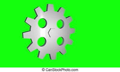 tourner, écran, vert, engrenage, boucle