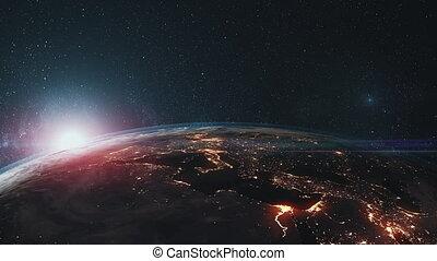 tourner, étoile, haut, surface, fond, la terre, fin, épique