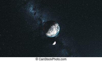 tourner, étoile, sommet, orbite, lune, bas, fond, la terre