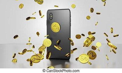 tourner, achats, plancher, 3d, résumé, dollar, pièces, tomber, smartphone, écran, render, exposer, seamless, vidéo, ligne, rebondir, boucle, doré