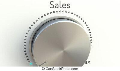 tourner, agrafe, inscription., ventes, bouton, conceptuel, 4k