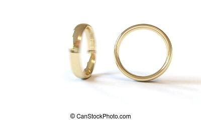 tourner, anneaux, mariage, une, deux, combiné