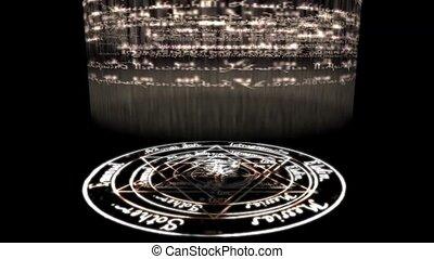 tourner, baphomet, éblouissant, sorcellerie, rune, christ, rays., autour de, pentagram, énergie