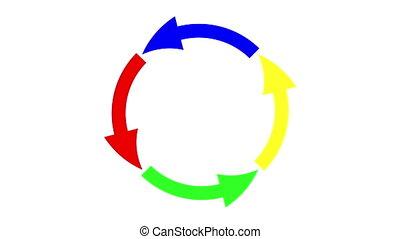 tourner, cercle, flèches, coloré