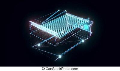 tourner, charbon de bois, hologramme
