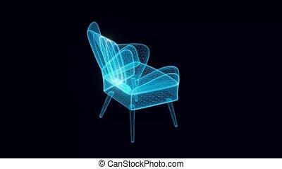 tourner, classique, chaise, hologramme