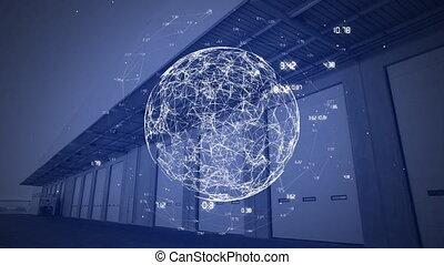 tourner, données, numérique, connexions, globe