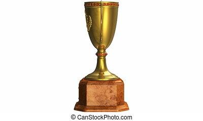 tourner, doré, trophée, tasse