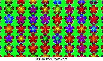 tourner, fleurs, animation, coloré, fleurir