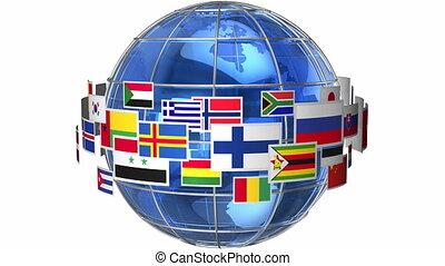 tourner, globe mondial, drapeaux