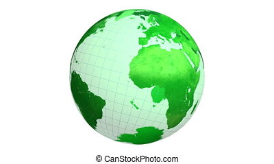 tourner, globe terre, vert