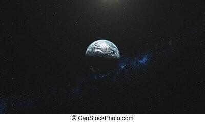 tourner, illuminer, mouvement rapide, faisceau, la terre, étoile