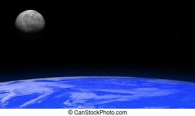 tourner, la terre, lune