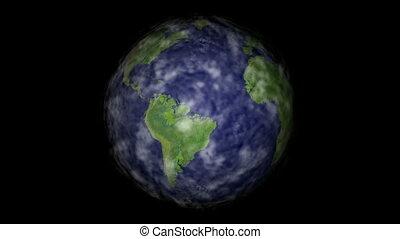 tourner, la terre, nuages, boucle