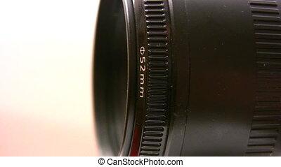 tourner, lentille, appareil photo