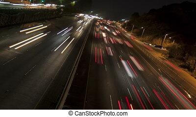 tourner, lumière, défaillance, temps, autoroute, 4k, nuit, pistes