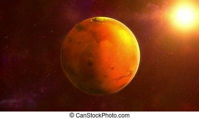 tourner, mars, espace, planète rouge, loop.