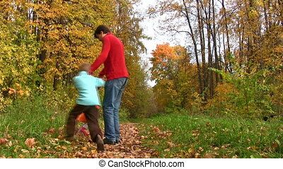 tourner, parc, père, deux, automne, enfants