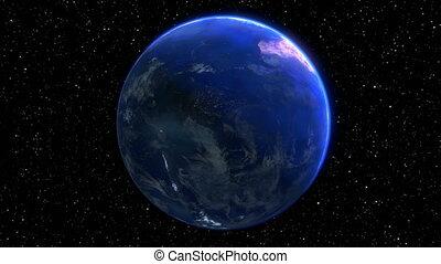 tourner, render, -, seamless, space., terre planète, boucle, 3d