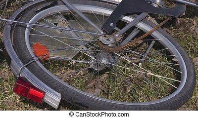 tourner, roue, vélo