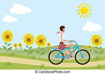 tournesols, girl, vélo