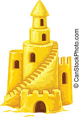 tours, fenetres, sable, escalier, château