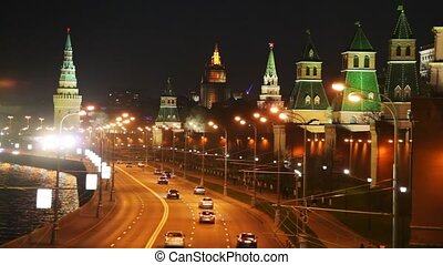 tours, panorama, rivière moscow, voitures, kremlin, route