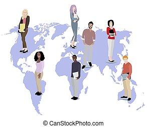 tout, étudiants, sur, multiculturel, mondiale