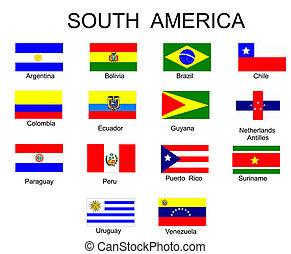 tout, amérique, drapeaux, pays, sud, liste