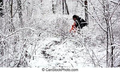 tout, elle, neige, promenade, buisson, bois, mère, couvert, où, gosse