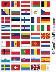 tout, ensemble, drapeau, countries., européen