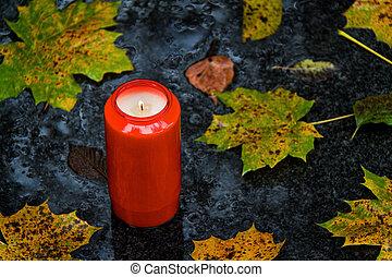 tout, lumière, feuilles, saints, diminuez jour, tombe