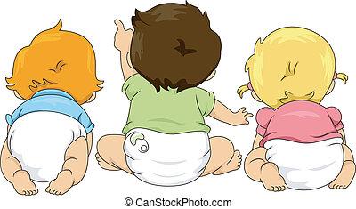 tout petits enfants, haut, vue, dos, regarder