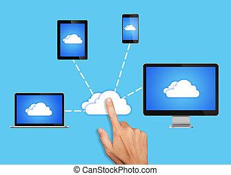 tout, réseau, calculer, appareils, connecté, nuage