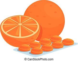 toux, dessin animé, icône, orange, gouttes, style
