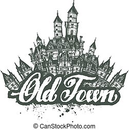 town., vieux, croquis, illustration, vecteur, typon