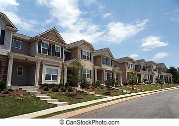 townhomes, rang, ou, nouveau, condominiums