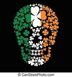 trèfle, irlandais, bras, crâne, manteau