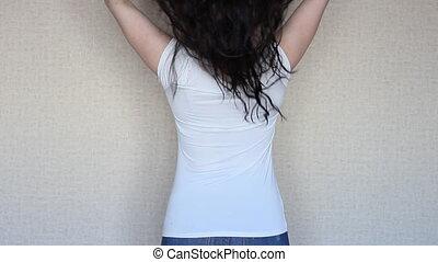 très, cheveux, girl, brunette, long