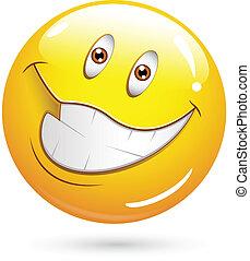 très, heureux, visage smiley