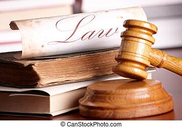 très, marteau, juges, livres, vieux