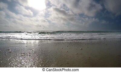 très, rapide, nuages, mer, vagues