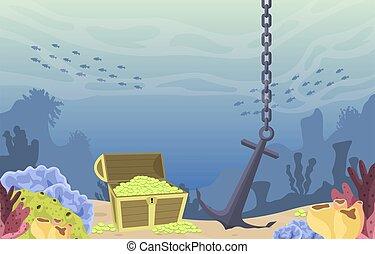 trésor, ancre, corail, sous-marin, poitrine, pirate, or, océan, marin, illustration