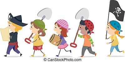 trésor, stickman, pirates, mars, trouver, gosses, outils