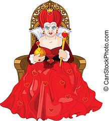 trône, fâché, reine