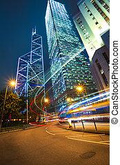 tra, arrière-plans, repère, route, moderne, bâtiments, lumière, hong kong