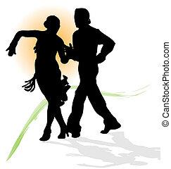 trace., latin, silhouette, danse, soleil, couple, vecteur, vert, orange