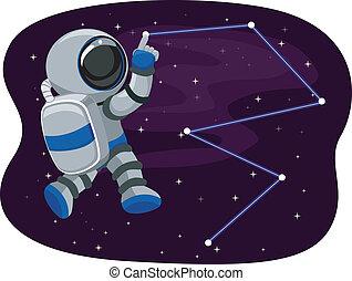 tracer, astronaute, étoiles, espace