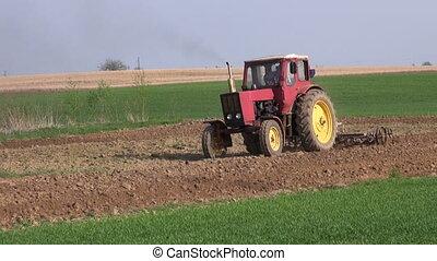tracteur, champ, ferme, cultivé